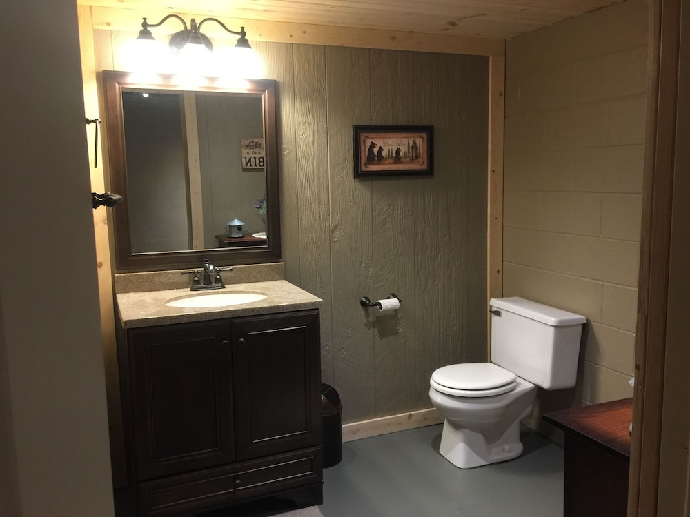 Bathroom, Large Log Cabin On 12 Private Acres With Fishing Pond Near Mohican State Park