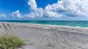 On the beach, sun loungers, beach towels