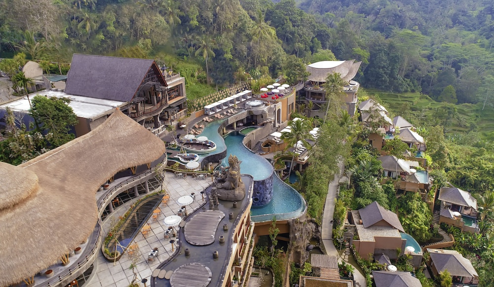 Aerial View, The Kayon Jungle Resort by Pramana