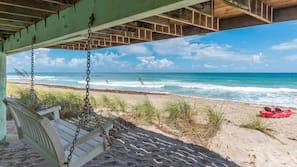Private beach, sun loungers, beach towels