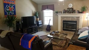 TV, fireplace, video games, books