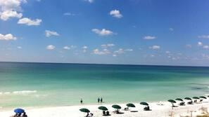 On the beach, sun loungers