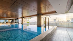Indoor pool, open 6 AM to 9 PM, sun loungers
