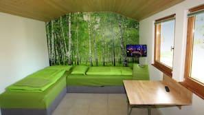 Fernseher, Tischtennisplatte, Videothek
