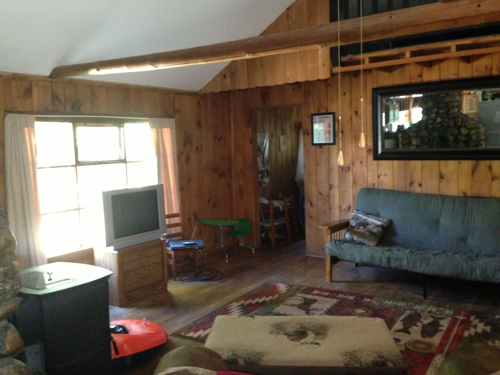 Living Room, Secluded Lake Cabin on 2 Acres With Sandy Swimming Beach, Dock and Sauna