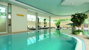 Indoor pool, open 6:30 AM to 10:30 PM, sun loungers