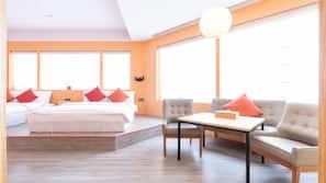 Down comforters, memory foam beds, free minibar, in-room safe