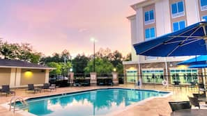 Outdoor pool, open 10 AM to 7 PM, pool umbrellas, sun loungers
