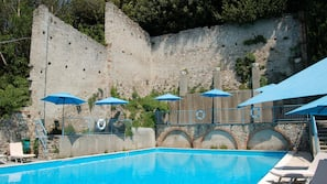 Seasonal outdoor pool, pool umbrellas, pool loungers