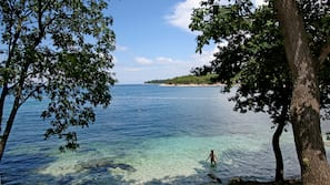 Beach nearby, sun-loungers, beach umbrellas, scuba diving