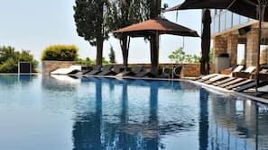 Indoor pool, 2 outdoor pools, open 8 AM to 9 PM, pool umbrellas