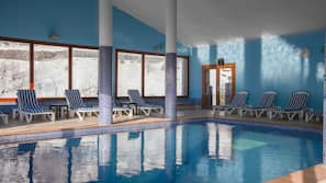 Indoor pool, open 8:00 AM to 8:00 PM, sun loungers