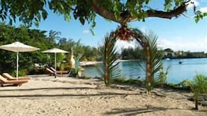 Private beach, beach shuttle, waterskiing