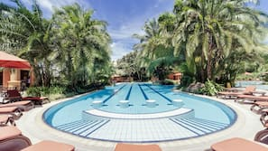 Outdoor pool, open 6:00 AM to 6:00 PM, pool umbrellas, pool loungers