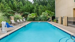 Seasonal outdoor pool, open 10:00 AM to 10:00 PM, free cabanas