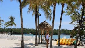 Private beach, sun loungers, beach bar, kayaking