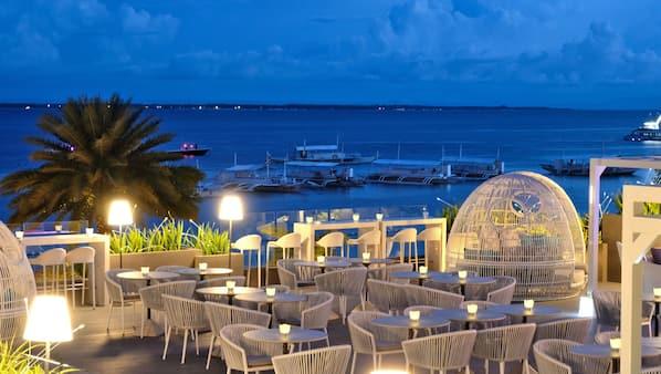 Rooftop bar, ocean views, open daily