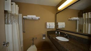 Combined shower/bathtub, free toiletries, hair dryer