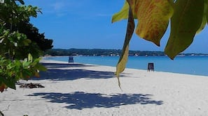 Private beach, white sand, snorkeling, water skiing