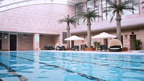 Indoor pool, outdoor pool, open 6:00 AM to 10:00 PM, pool umbrellas