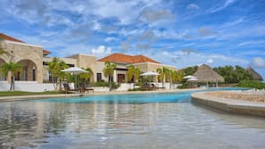 Outdoor pool, open 7:30 AM to 7:30 PM, pool umbrellas, sun loungers