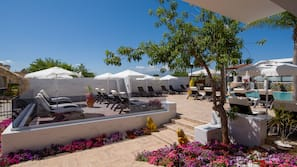 Beach nearby, sun loungers, beach umbrellas, beach volleyball