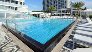 2 outdoor pools, open 7:00 AM to 6:00 PM, pool umbrellas, pool loungers