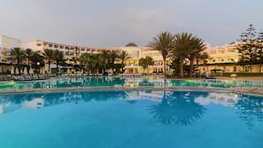 Indoor pool, 2 outdoor pools, pool umbrellas