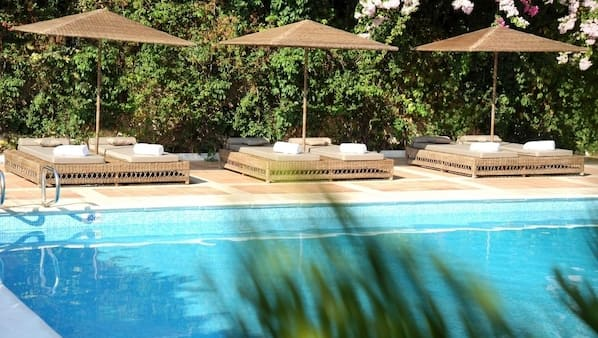 Seasonal outdoor pool, open 11 AM to 6 PM, pool loungers