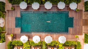 Indoor pool, outdoor pool, open 6:00 AM to 8:00 PM, sun loungers