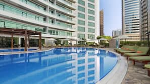 Outdoor pool, open 8:00 AM to 8:00 PM, lifeguards on site