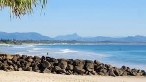 Beach nearby, beach umbrellas, beach towels, beach bar