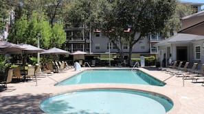 2 outdoor pools, open 10 AM to 10 PM, pool umbrellas, sun loungers