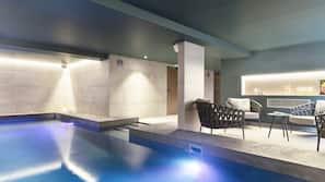 Indoor pool, outdoor pool, open 10:00 AM to 10:00 PM, pool umbrellas