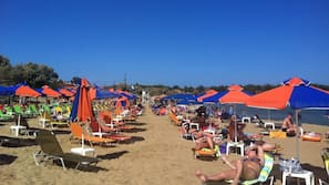 Beach nearby, white sand, beach cabanas, sun-loungers