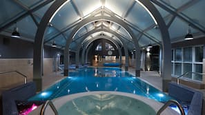 Indoor pool, open 6:30 AM to 9:30 PM, pool loungers