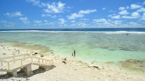 Private beach, beach towels, snorkelling, surfing