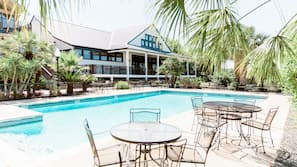 Outdoor pool, open 9 AM to 11 PM, sun loungers