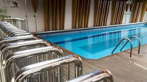 Indoor pool, open 9:00 AM to 9:00 PM, sun loungers