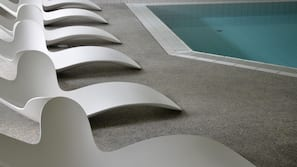 Indoor pool, open 8 AM to 7:30 PM, pool umbrellas, sun loungers