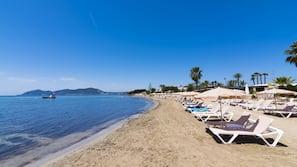 Private beach nearby, sun-loungers, beach umbrellas, beach bar