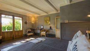 Frette Italian sheets, premium bedding, down duvets, desk