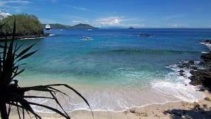 Beach nearby, white sand, scuba diving, fishing