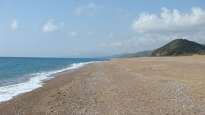 Beach nearby, sun-loungers, beach umbrellas, snorkelling