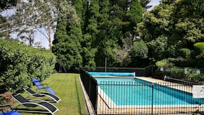 Seasonal outdoor pool, open 7 AM to 7 PM, sun loungers