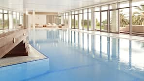 Indoor pool, 3 outdoor pools, open 9:00 AM to 6:00 PM, pool umbrellas