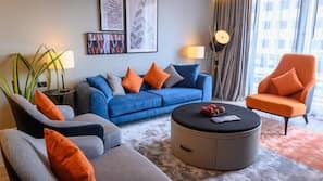 LCD TV, fireplace, DVD player