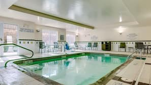 Indoor pool, open 7:30 AM to 10:00 PM, pool umbrellas, sun loungers