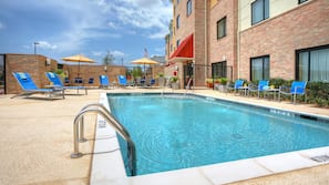 Outdoor pool, open 8 AM to 10 PM, pool umbrellas, sun loungers