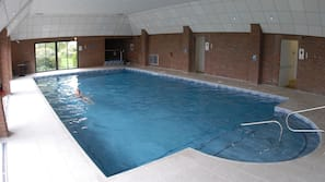 Indoor pool, open 7 AM to 9:00 PM, sun loungers